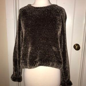 Crew Neck Chenille Velvet Sweater
